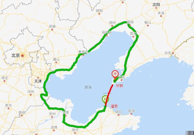 渤海灣南側的山東煙台與北側的遼寧大連,兩地直線距離僅為125公里(紅線部分)。但...