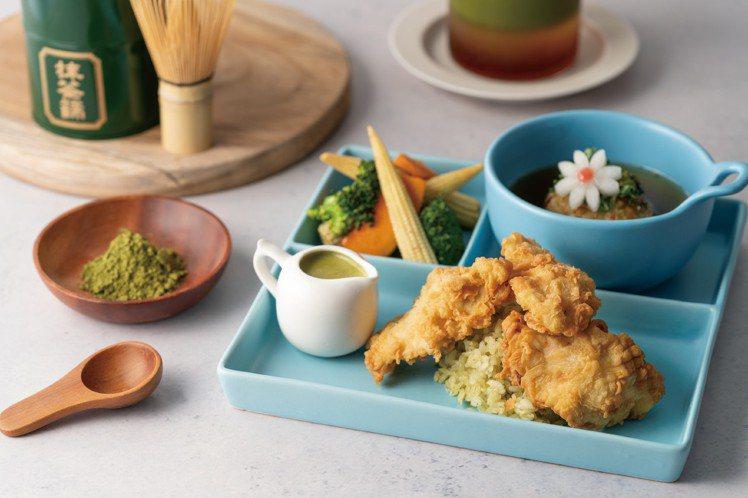 「抹茶白醬唐揚定食」售價290元。圖/Dazzling Cafe提供