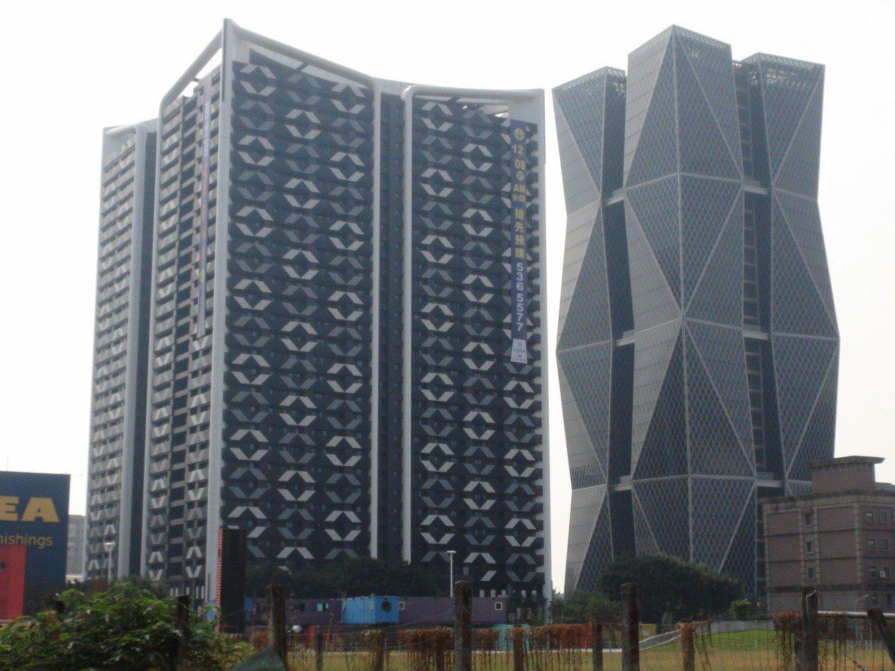 中鋼集團子公司中欣開發公司推出第一件建案「欣灣時代」(左側,右側是中鋼總部 ),...