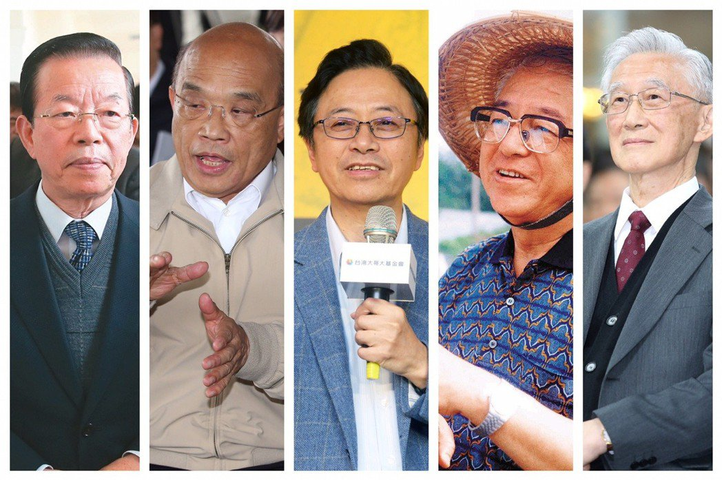 謝長廷(左起)、蘇貞昌、張善政、林洋港、陳履安。 圖/聯合報系資料照片