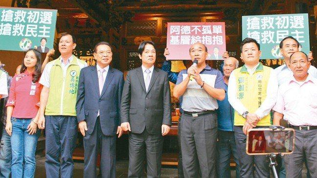 行政院前院長賴清德昨天到新竹縣義民廟參拜並拜訪地方人士。 記者張雅婷/攝影