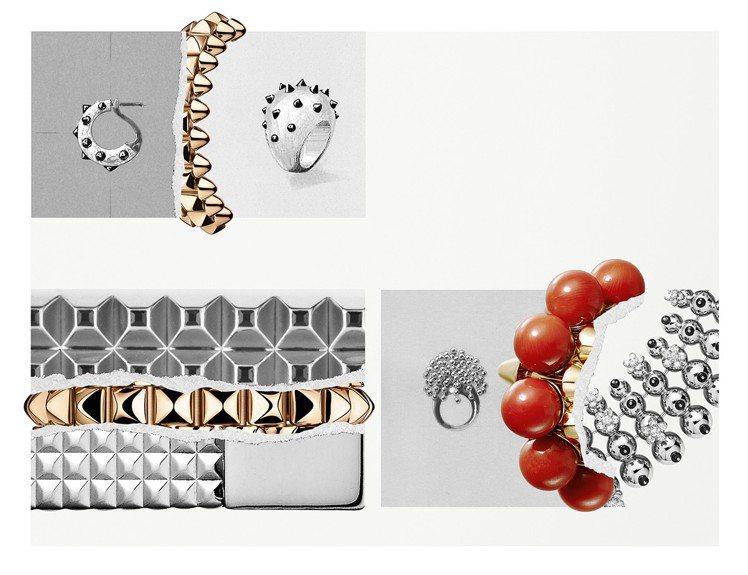 CLASH DE CARTIER系列巧妙融入飾釘、圓珠、巴黎飾釘等細節。 圖/卡...