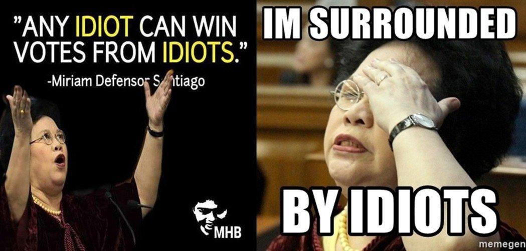 前任參議員桑蒂雅各的政治迷因圖:「任何一個白癡都能從一群白癡裡贏得選票」、「我被...
