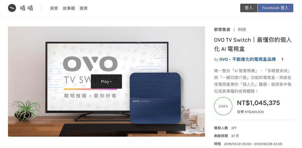 OVO TV Switch集資火熱15小時破百萬。 OVO /提供