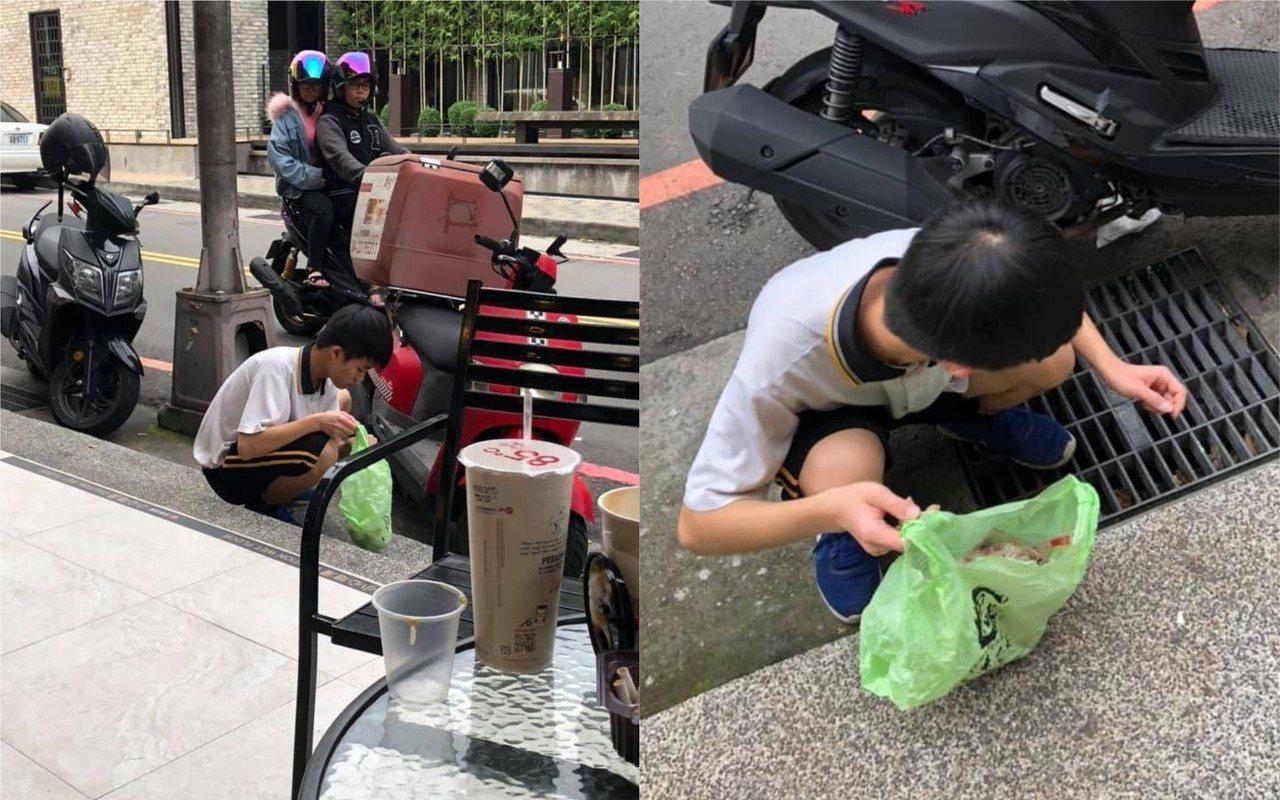 台中一位國中生看到地上散落的菸蒂後,自發性的準備塑膠袋「撿垃圾」,被網友讚為無名...