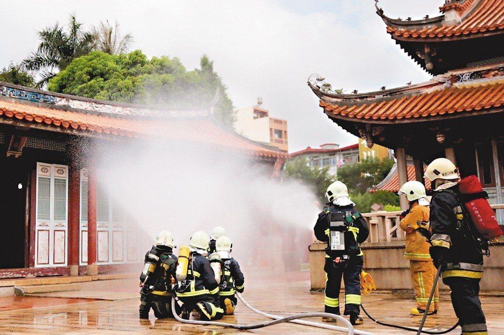 2016年,文化部文化資產局在彰化孔子廟辦理消防演練,加強古蹟防火觀念。 圖/彰化縣文化局提供
