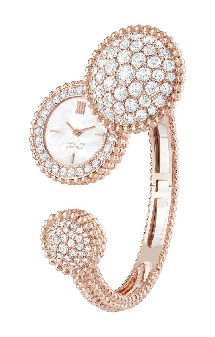 梵克雅寶Perlée腕表,玫瑰金鑲嵌鑽石,199萬元。圖/梵克雅寶提供