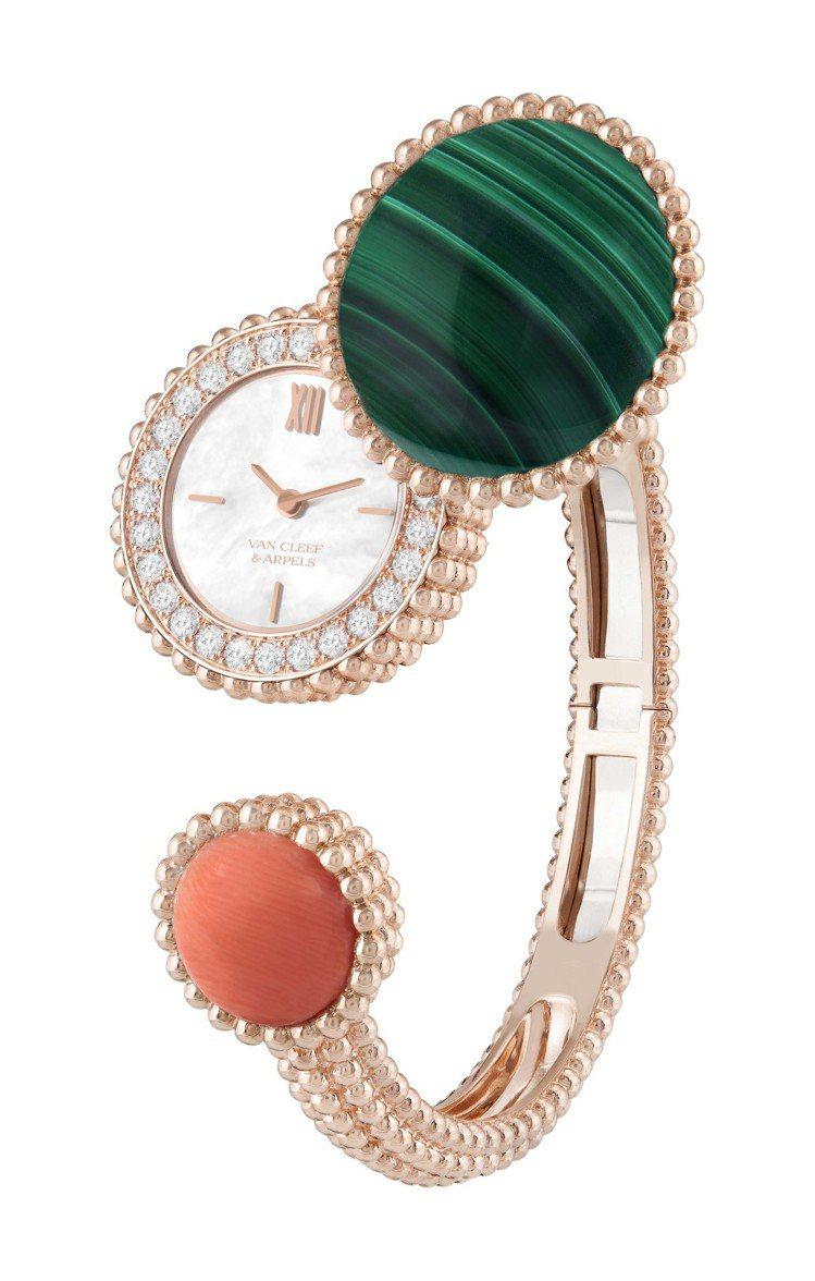 梵克雅寶Perlée腕表,玫瑰金鑲嵌孔雀石、珊瑚、鑽石,104萬元。圖/梵克雅寶...