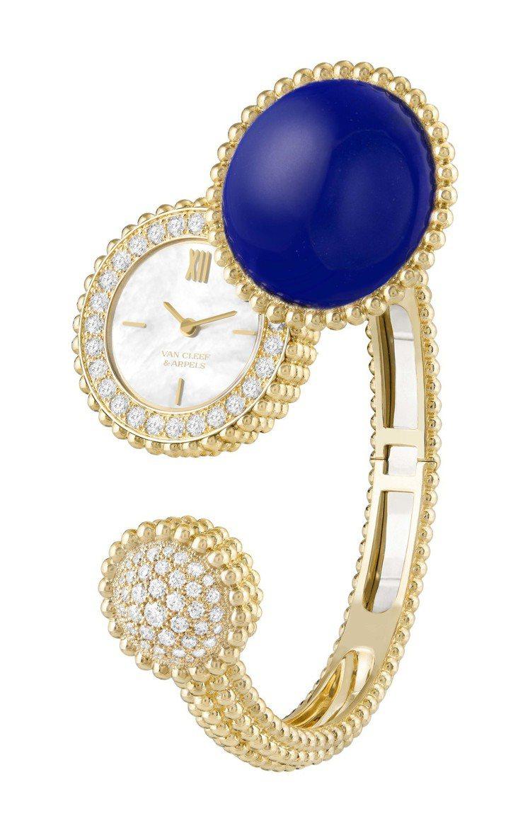梵克雅寶Perlée腕表,黃K金鑲嵌青金石與鑽石,124萬元。圖/梵克雅寶提供
