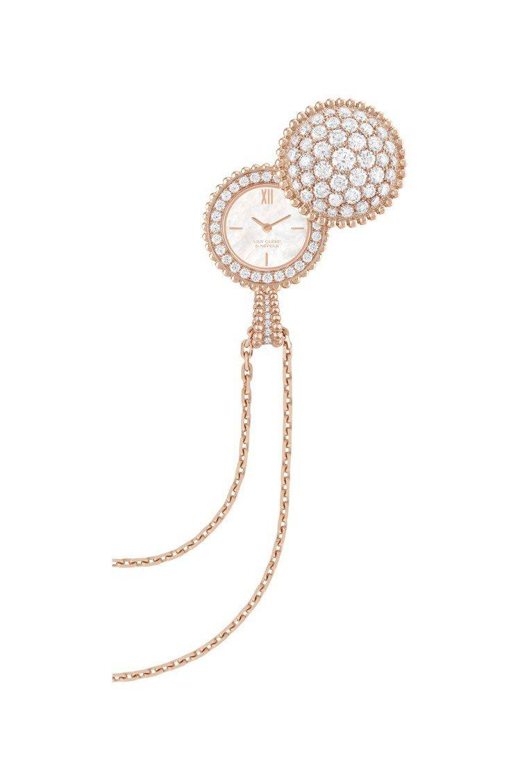 梵克雅寶Perlée吊墜腕表,玫瑰金鑲嵌鑽石,151萬元。圖/梵克雅寶提供