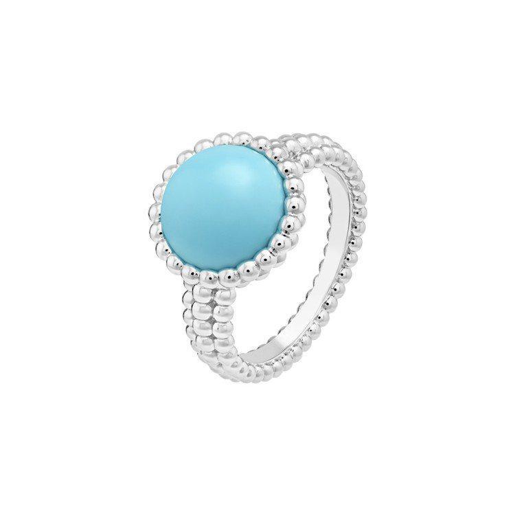 梵克雅寶Perlée couleurs戒指,白K金鑲嵌綠松石,10萬2,000元...