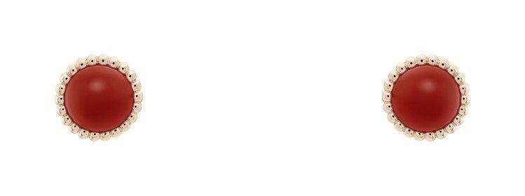 梵克雅寶Perlée couleurs耳環,玫瑰金鑲嵌紅玉髓,83,500元。圖...