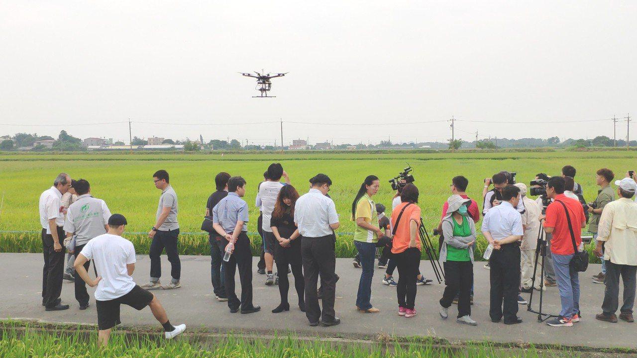 無人機應用日益普遍,農委會、台南市政府農業局上午在後壁區展現無人機農噴應用示範成...