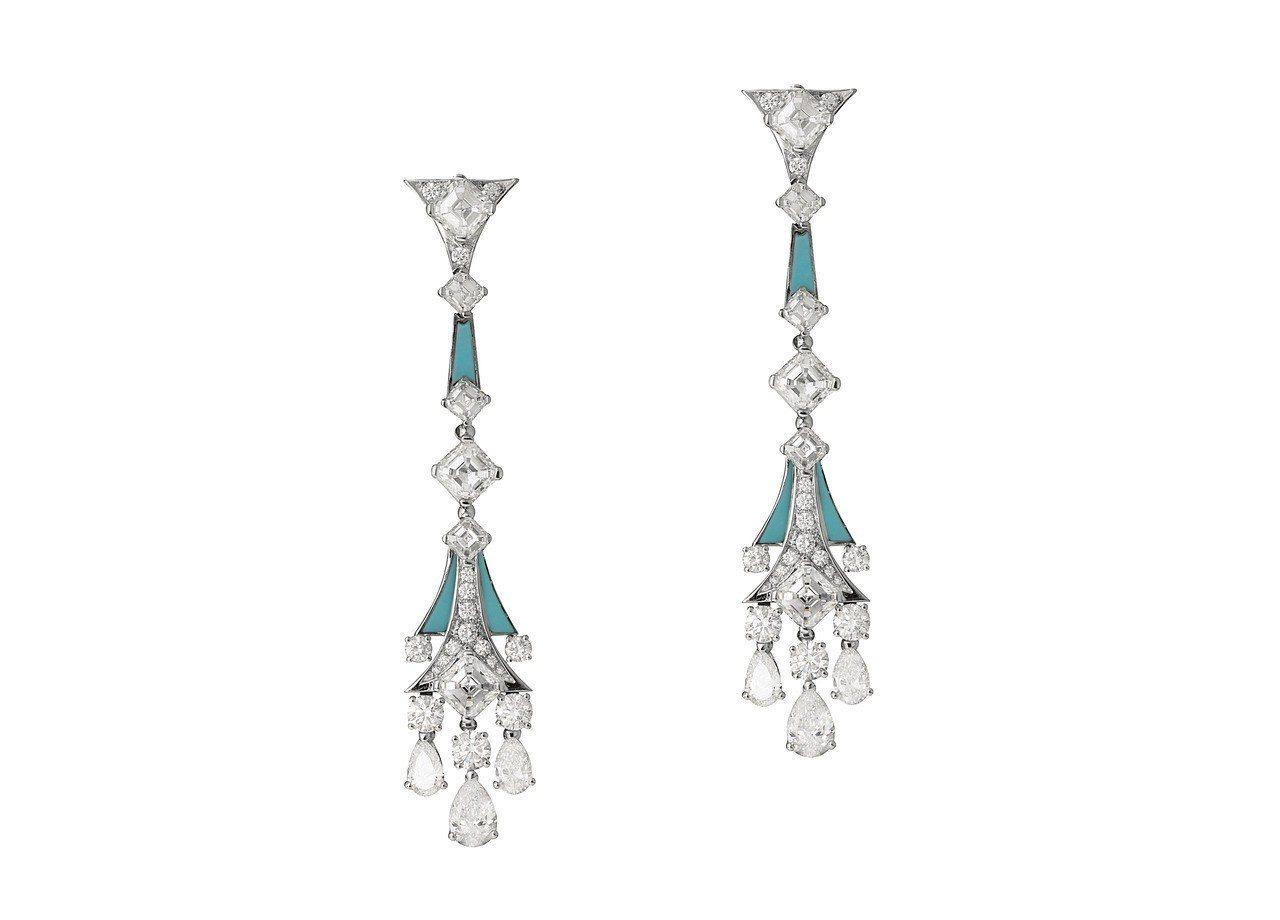 寶格麗頂級綠松石與鑽石垂墜耳環,白K金耳環,鑲嵌綠松石、6顆祖母綠切割鑽石與6顆...