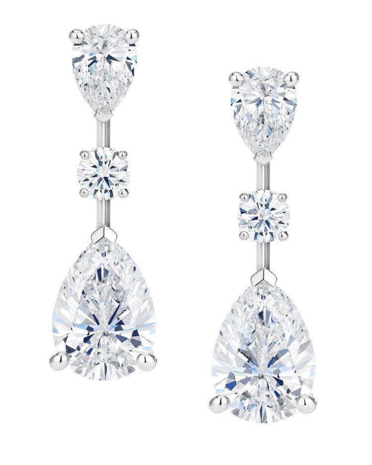 De Beers Drops of Light高級珠寶鑽石耳環,鑽石總重7.93...