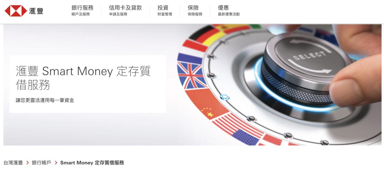 申辦「滙豐Smart Money定存質借服務」,年利率最低1.0%起。圖/取自滙...