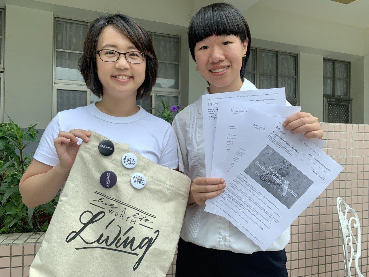 許雯寧(右)在埔里長大,3年前吊車尾考上台中二中,高二決定大學要赴國外唸書,錄取...
