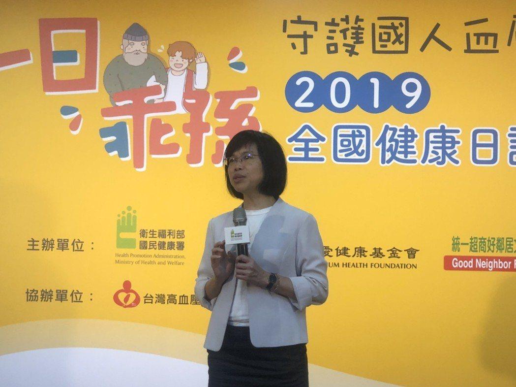 國健署副署長賈淑麗呼籲定期量血壓才能掌握健康。記者劉嘉韻/攝影