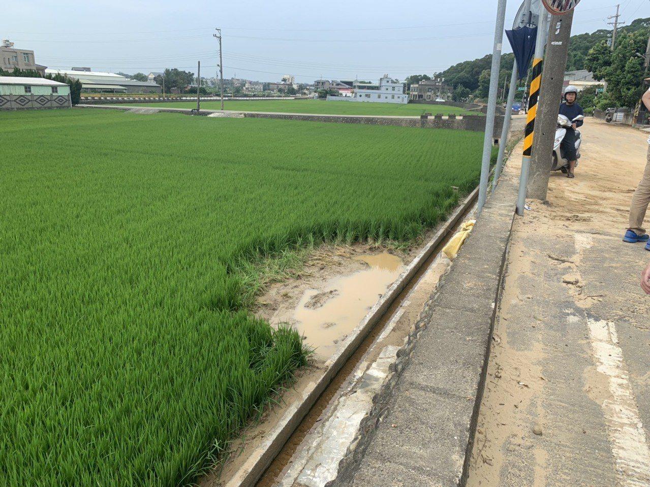 新竹縣竹北市尚義街附近住家、農舍均遭土石流入侵,連巷弄出口下方的稻田,也被泥流沖...