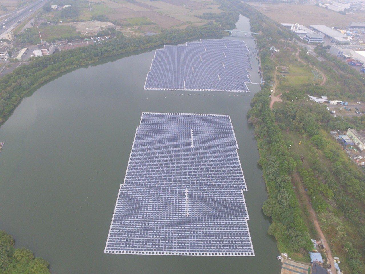 國內積極發展綠能,圖為台南新市樹谷園區內埤塘上方大片太陽能板。圖/台電提供
