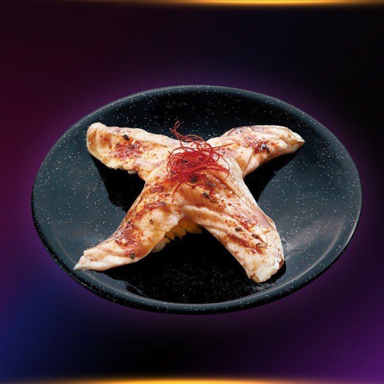 爭鮮推出X造型的炙燒鮭魚,每份60元。圖/爭鮮提供