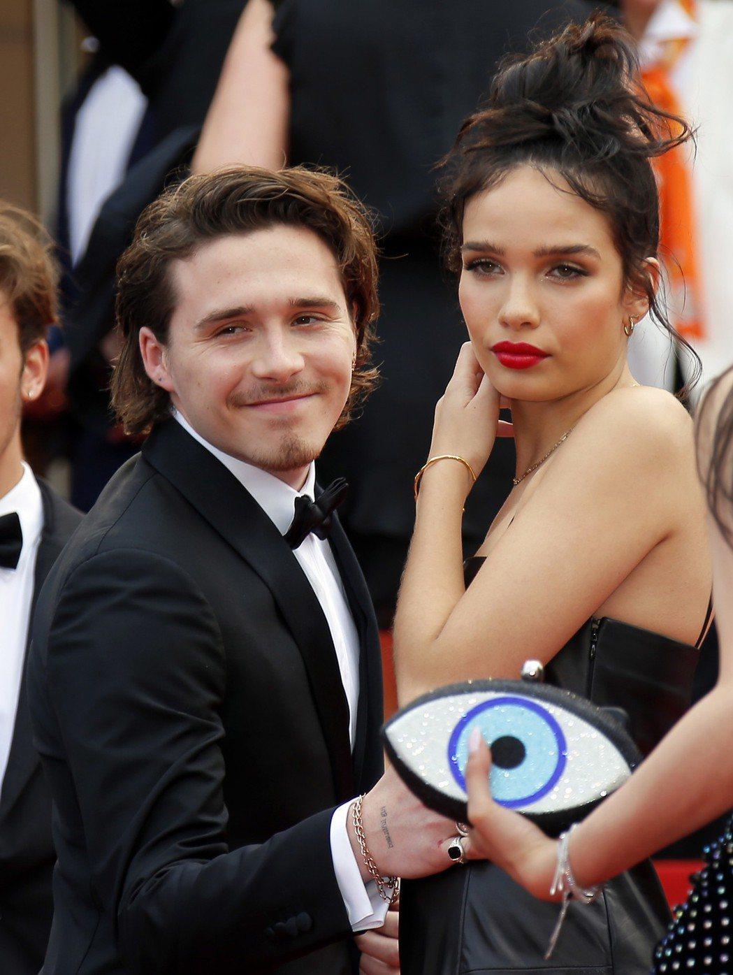布魯克林貝克漢與女友漢娜也受邀欣賞「從前,有個好萊塢」。(歐新社)