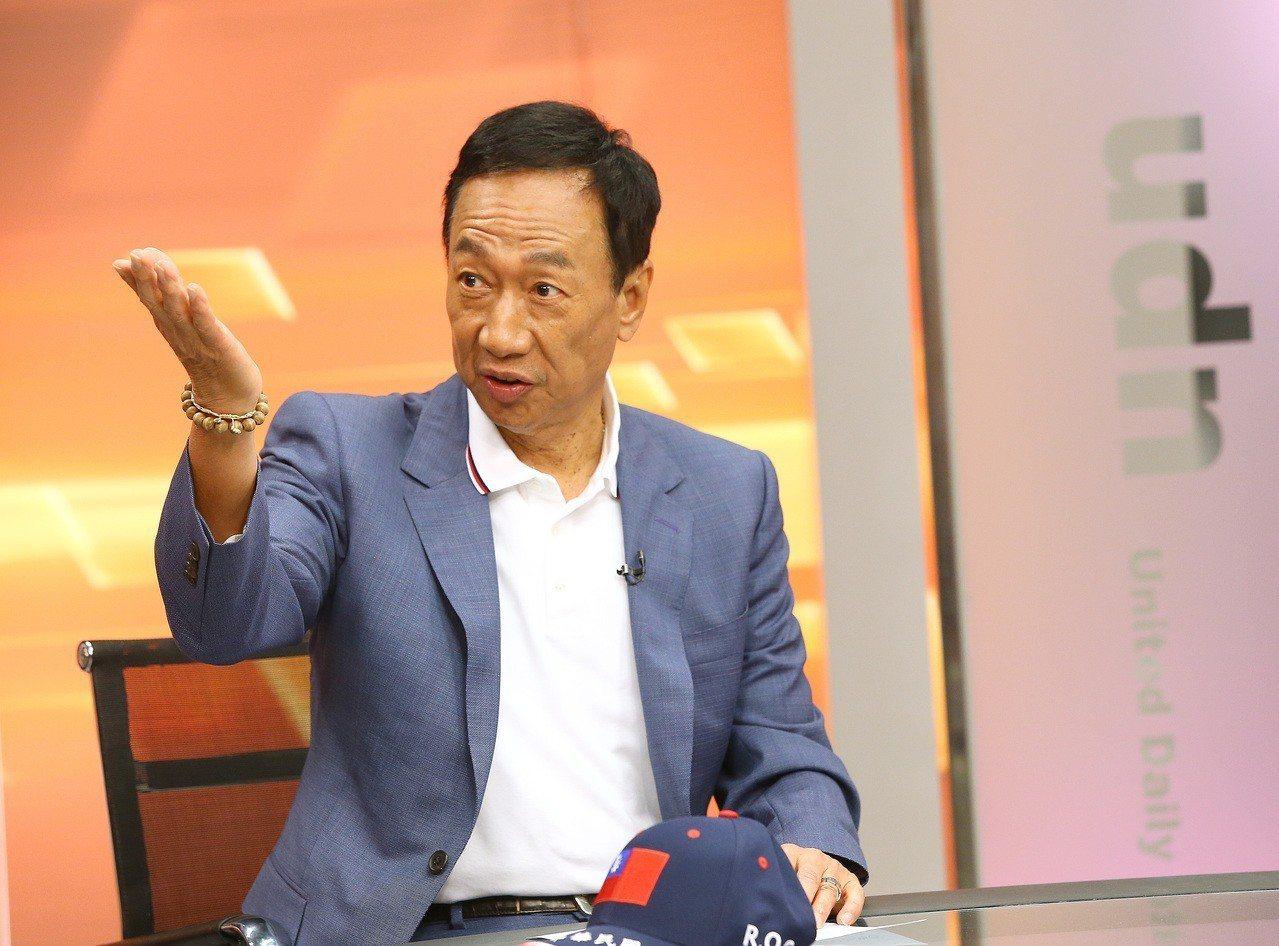 鴻海董事長郭台銘拜訪聯合報系總部,並接受報系專訪。記者高彬原/攝影
