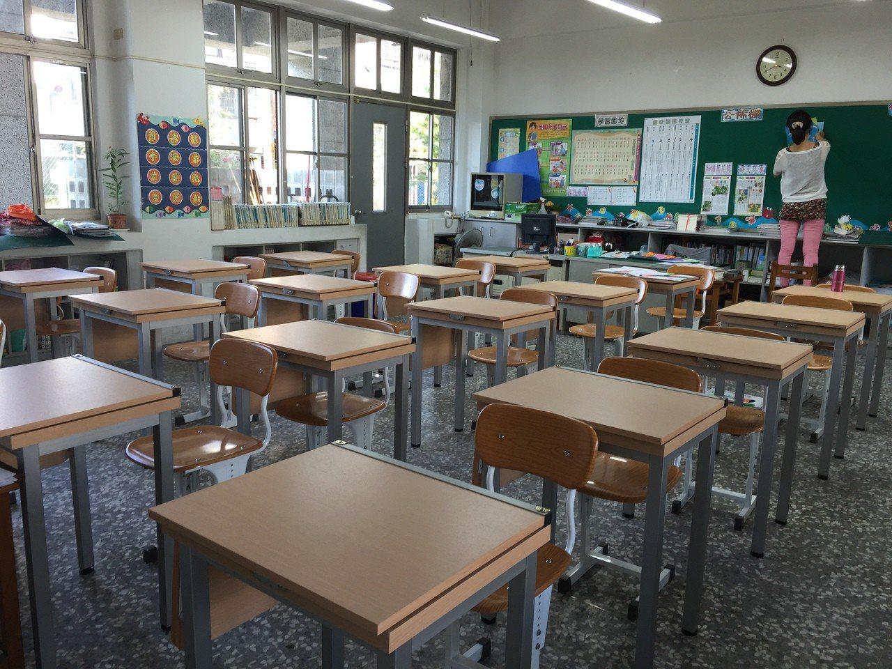 南投縣漳和國小汰換新的課桌椅,可依座位調整身高,讓學生坐起來更舒服。圖/南投縣政...