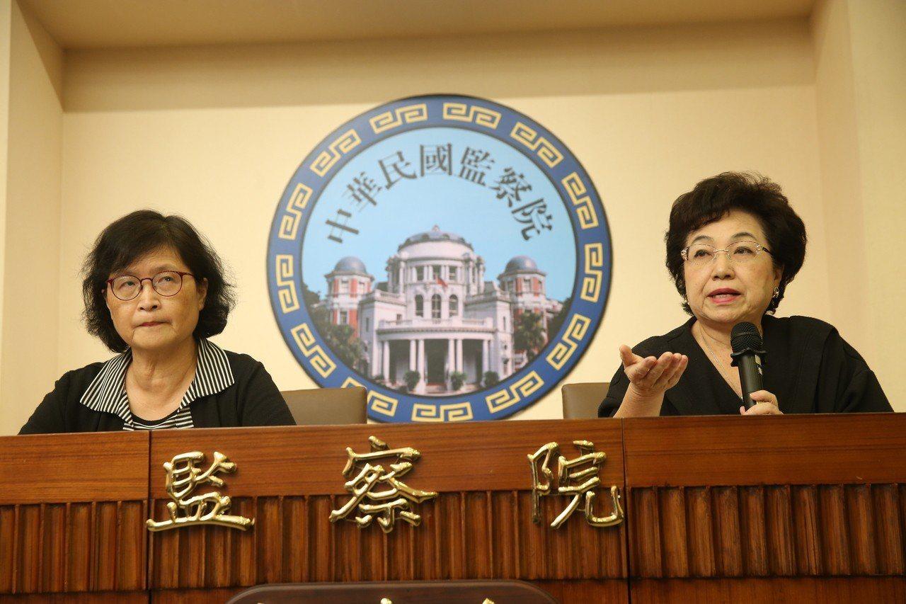 監察院外交僑政委員會昨天通過委員仉桂美(左)、江綺雯(右)的調查報告,糾正外交部...