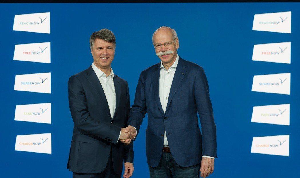 BMW AG執行長Harald Krüger與Daimler主席Dieter Z...