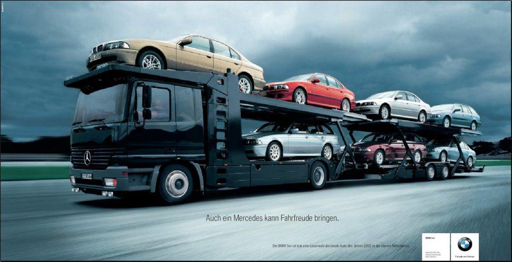 BMW也曾經打出嘲諷廣告,Mercedes也能帶來駕駛樂趣。 摘自BMW