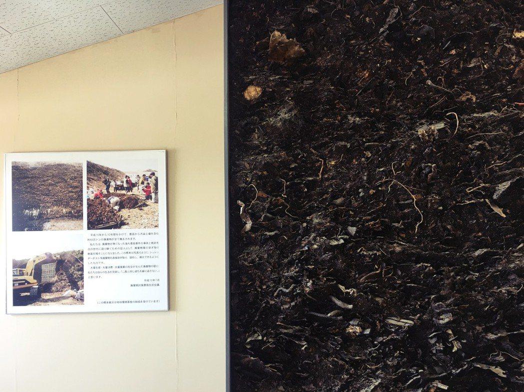 圖中右方的牆面就是廢棄物斷面。一旁的工作人員說:「這是被傾倒在這裡的非法產業廢棄...