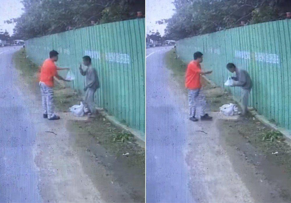一名大車司機開車途中發現有名街友蹲坐路邊,他怕對方肚子餓,便下車將自己的便當送給...