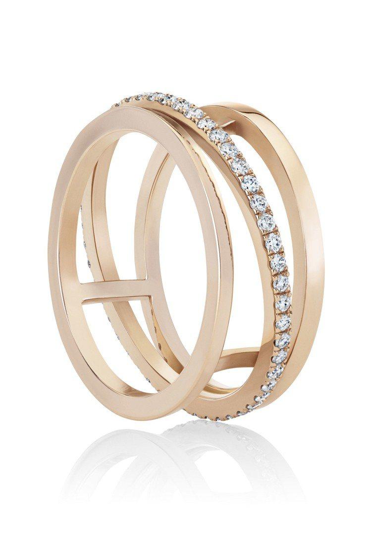 De Beers Horizon 18K玫瑰金戒指,鑽石總重0.36克拉,約11...
