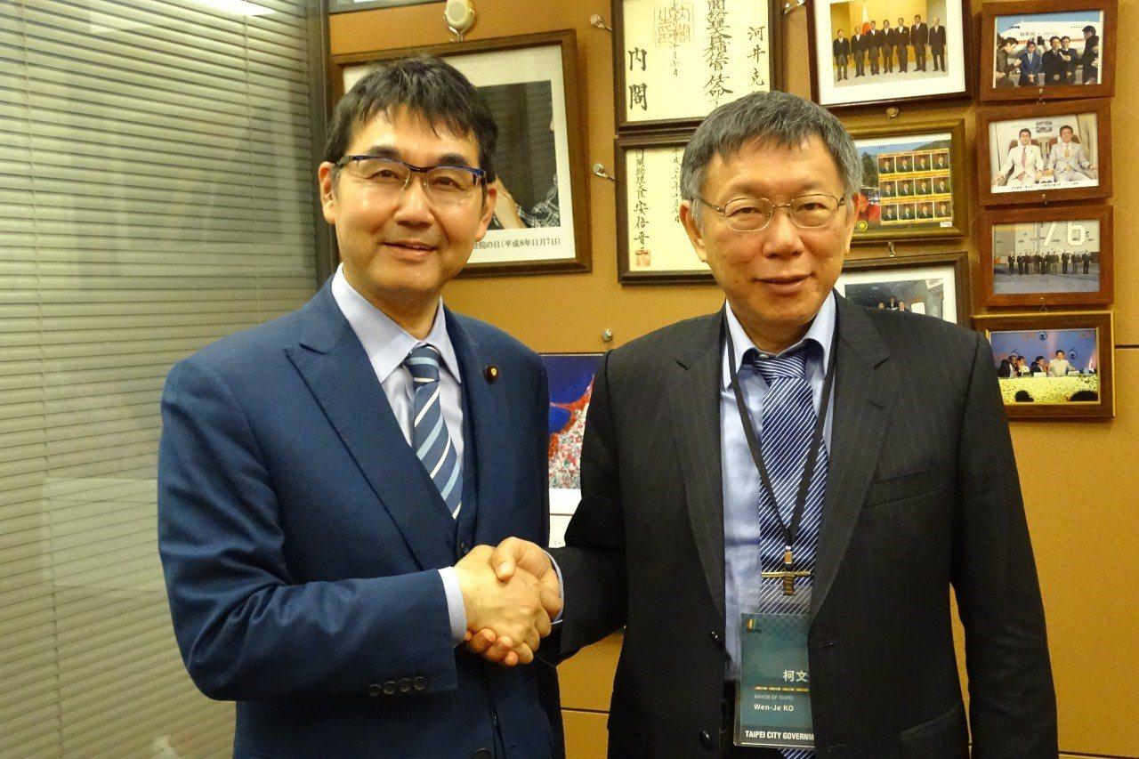 台北市長柯文哲今一早拜會日本眾議員河井克行。圖/北市府提供
