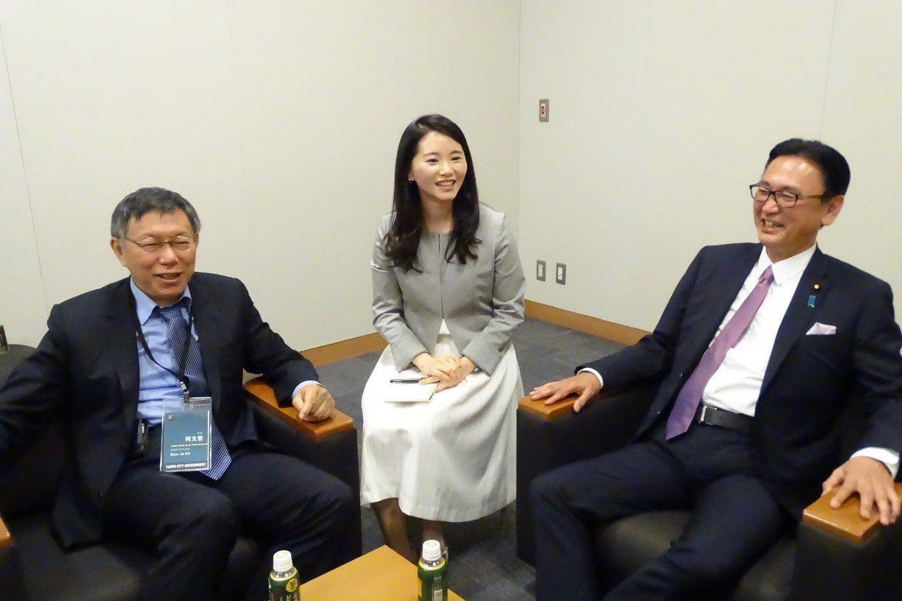 台北市長柯文哲今一早拜會日本眾議員古屋圭司。圖/北市府提供