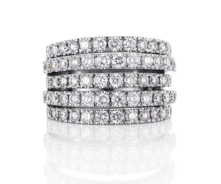 De Beers Classic Line五層鑲鑽戒指,鑽石總重1.77克拉,約...