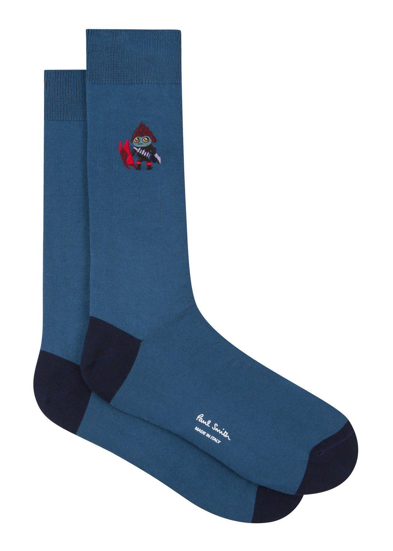 《MIB星際戰警™:跨國行動》限量膠囊系列電繡外星人襪(藏青),1,800元。圖...