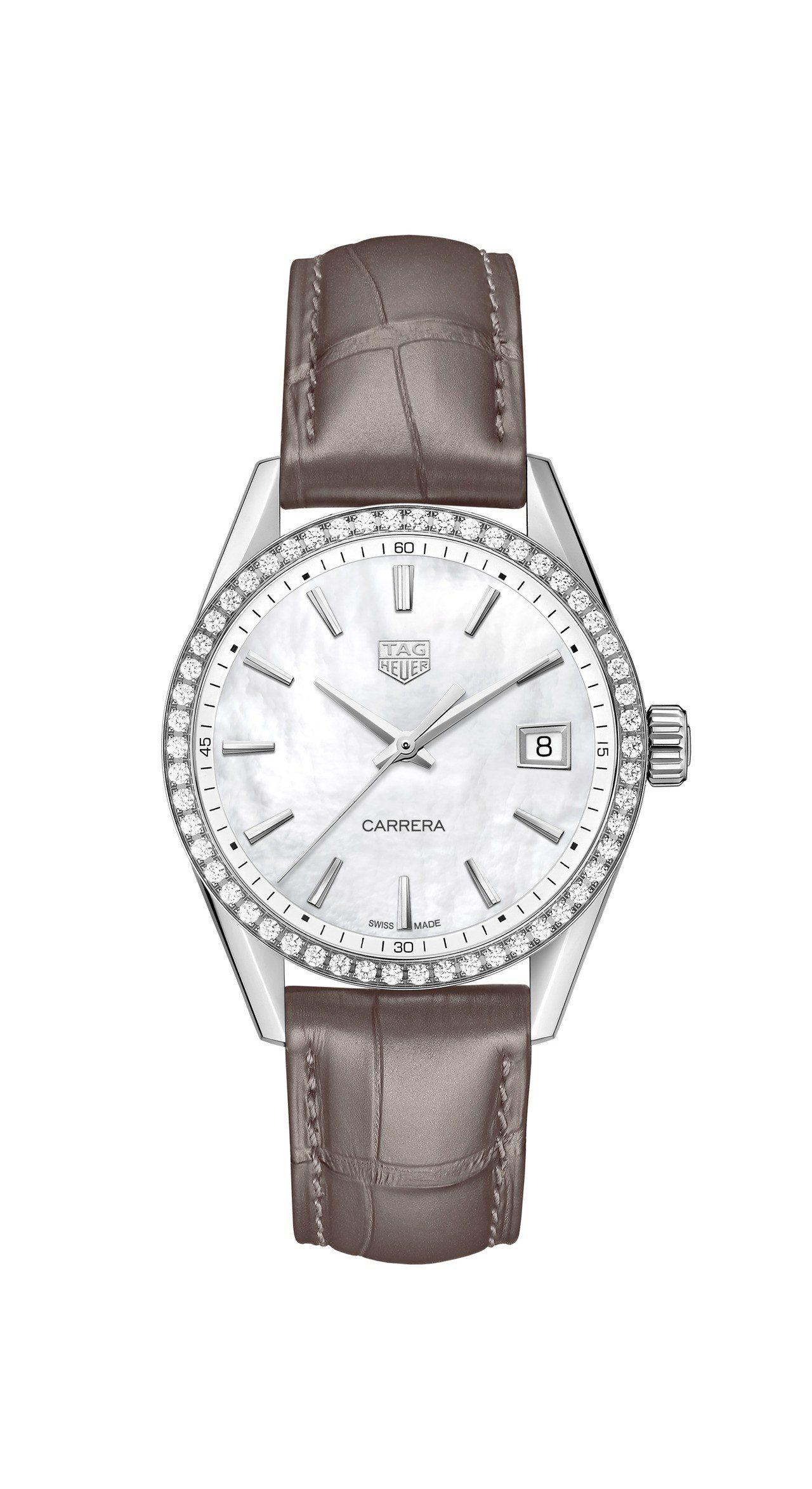 泰格豪雅Carrera Lady腕表,不鏽鋼表殼搭配珍珠母貝表盤、鑲鑽表圈,搭載...