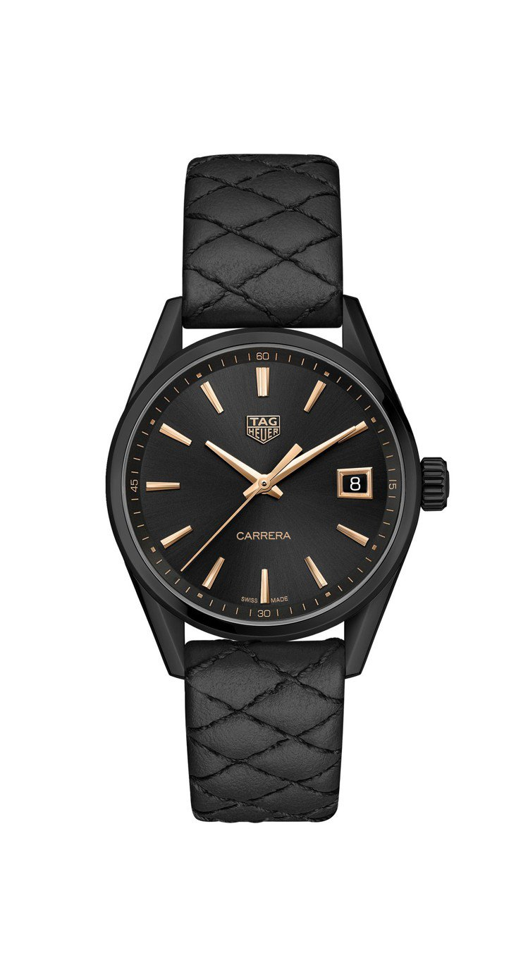 泰格豪雅Carrera Lady腕表,黑色PVD不鏽鋼表殼,搭載石英機芯,約77...