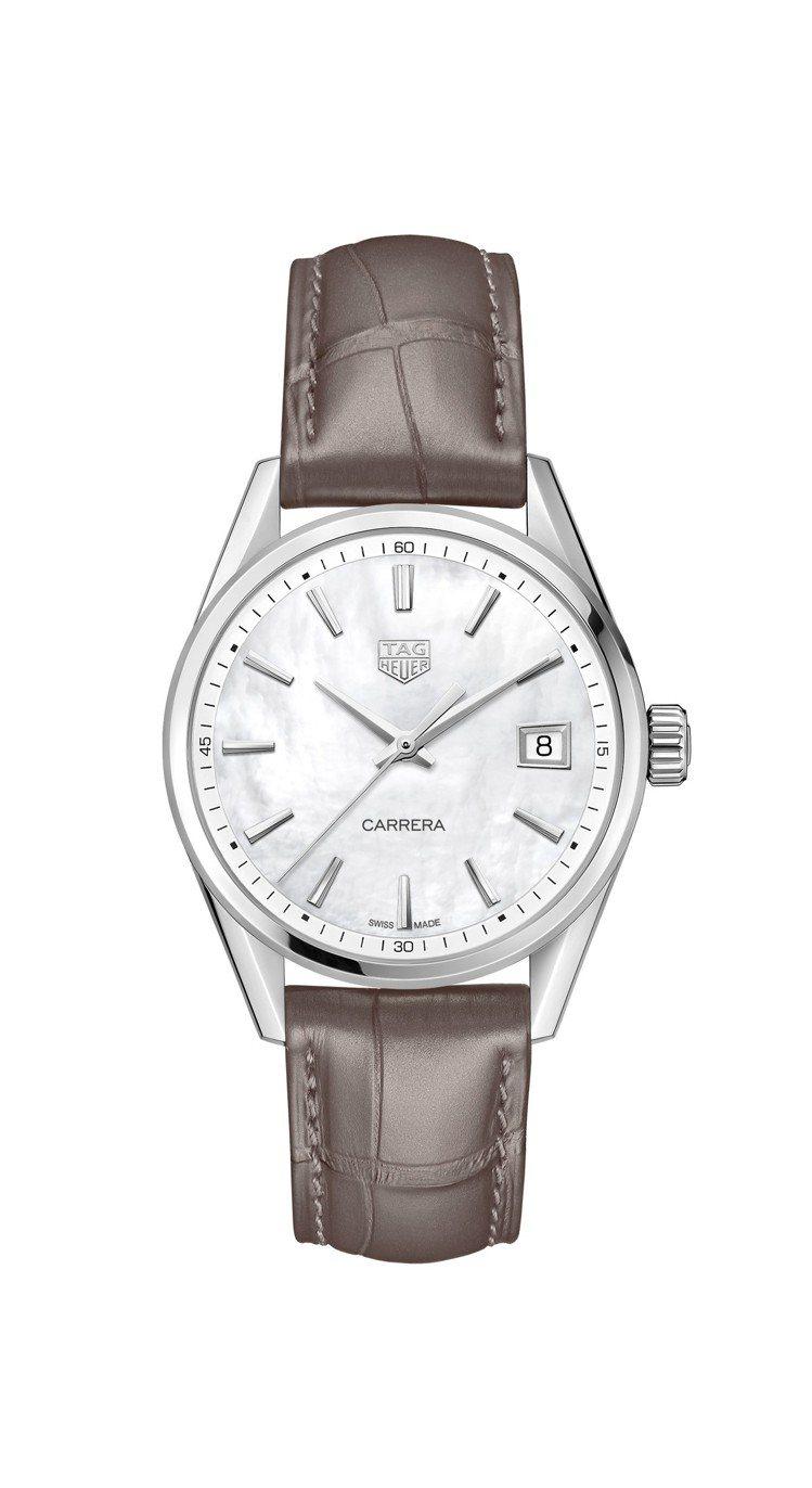 泰格豪雅Carrera Lady腕表,不鏽鋼表殼搭配珍珠母貝表盤,搭載Calib...