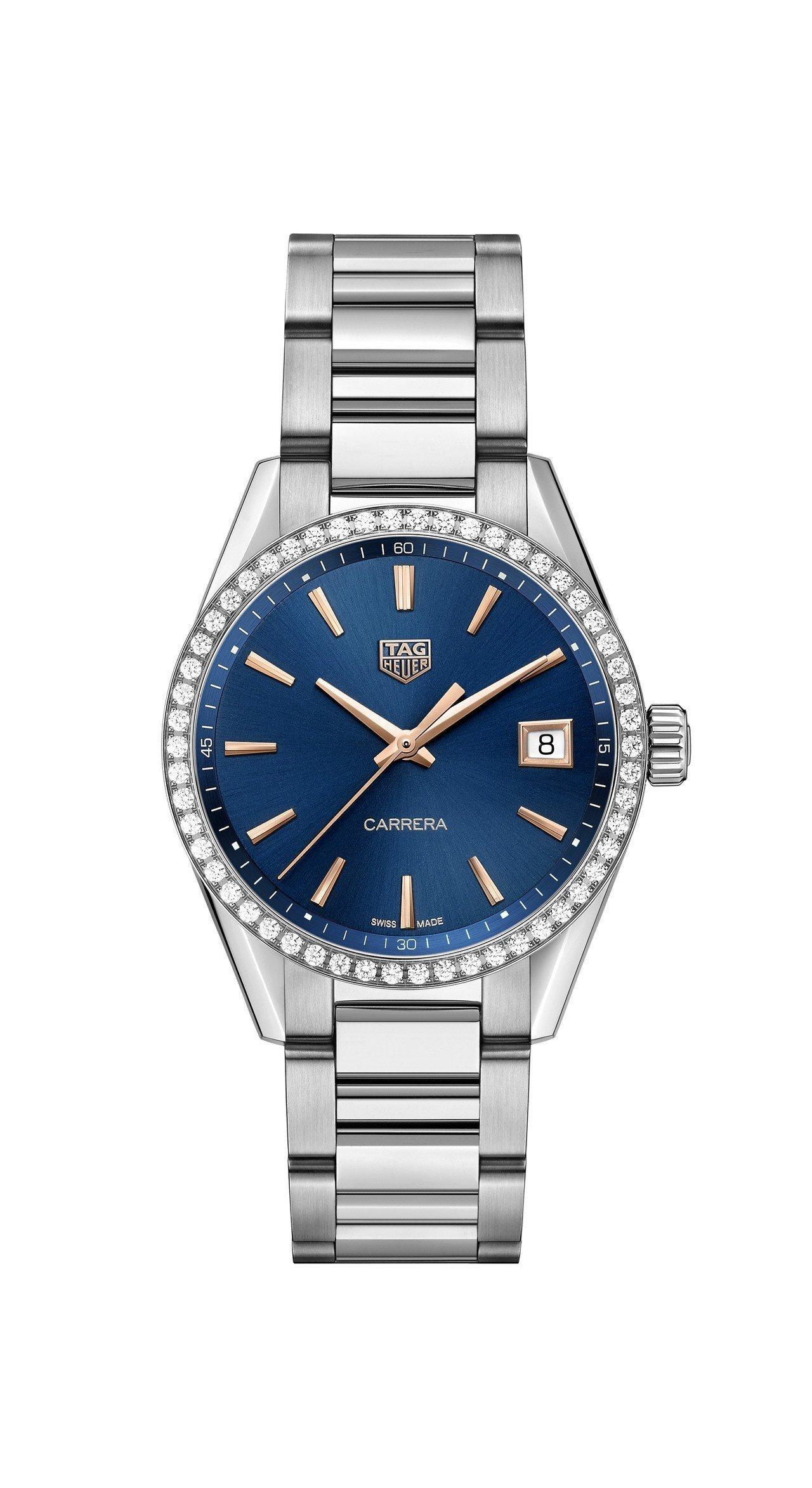 泰格豪雅Carrera Lady腕表,不鏽鋼表殼、鑲鑽表圈,搭載石英機芯,約13...
