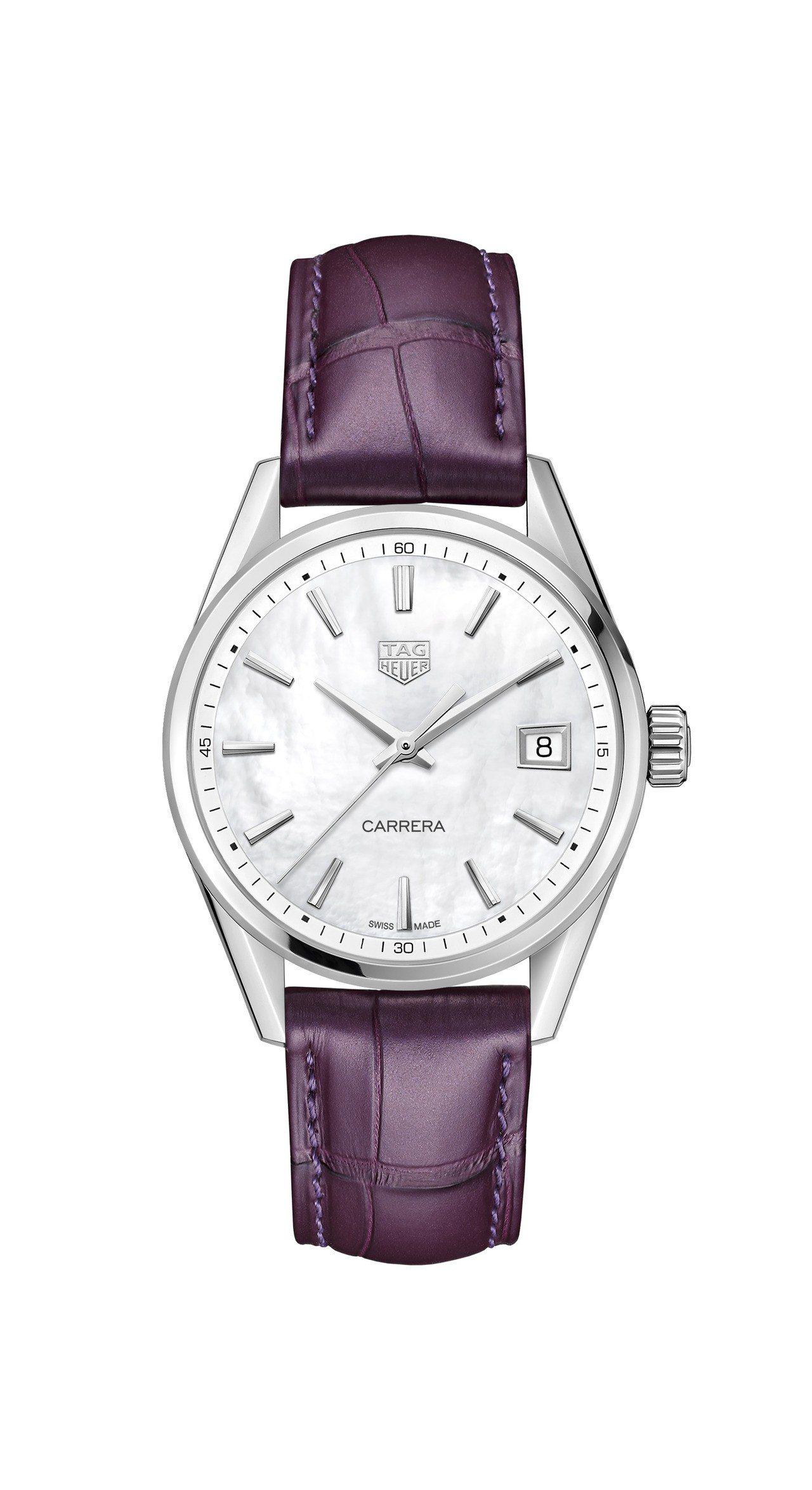 泰格豪雅Carrera Lady腕表,不鏽鋼表殼搭配珍珠母貝表盤,搭載石英機芯,...