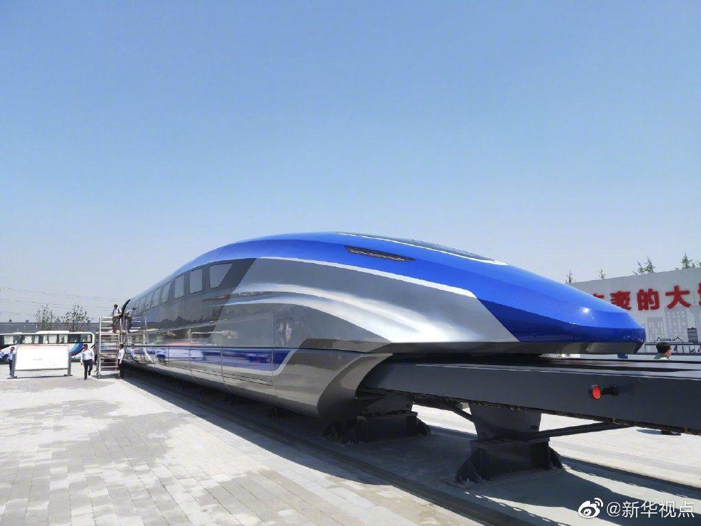 大陸自行研發的時速600公里高速磁浮試驗樣車,5月23日在山東青島正式亮相。(新...