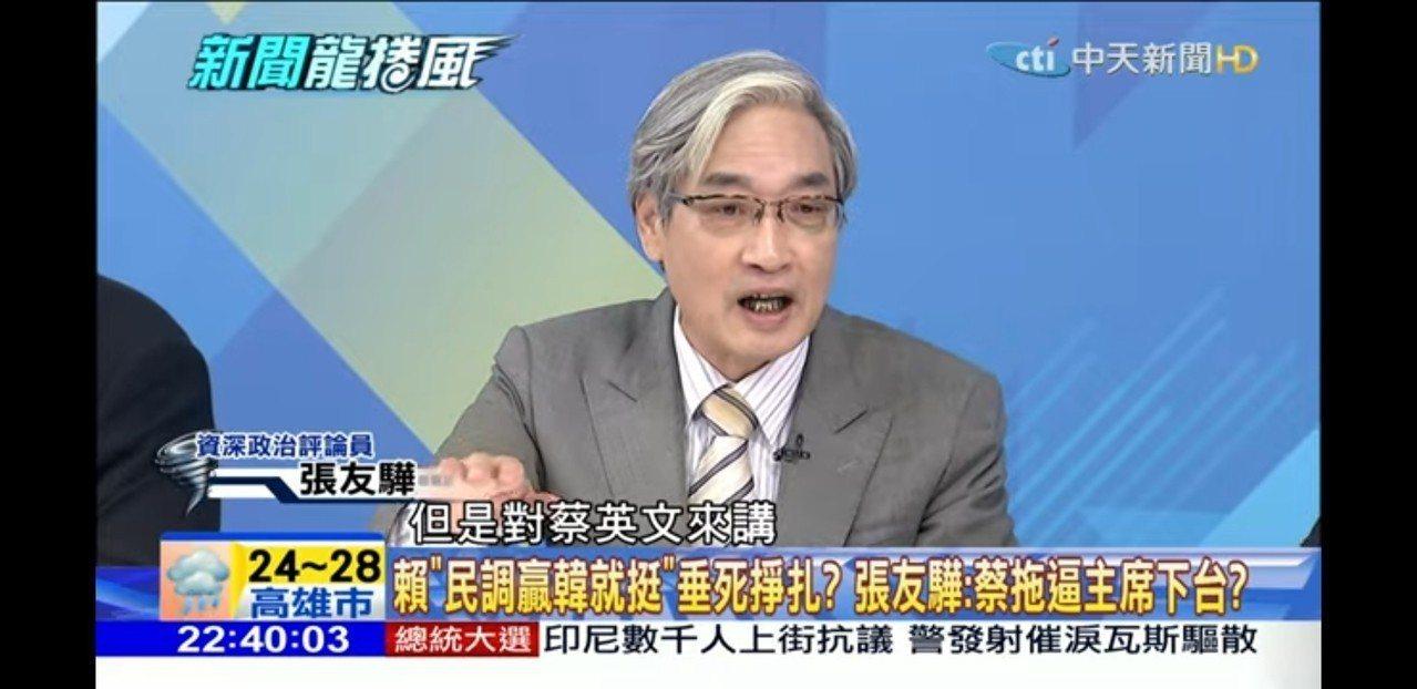張友驊參加政論節目「新聞龍捲風」。圖/取自網路
