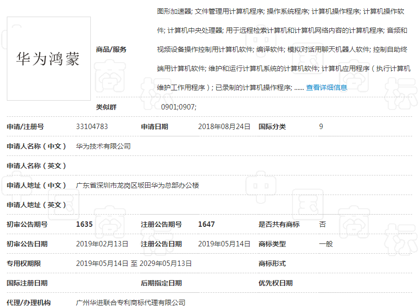 圖/擷自中國國家智慧財產權局商標局網站
