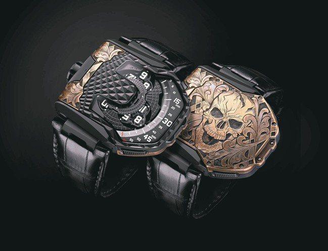 URWERK UR-T8 Skull腕表,表殼為鈦金屬及青銅,加上手工雕刻裝飾,...