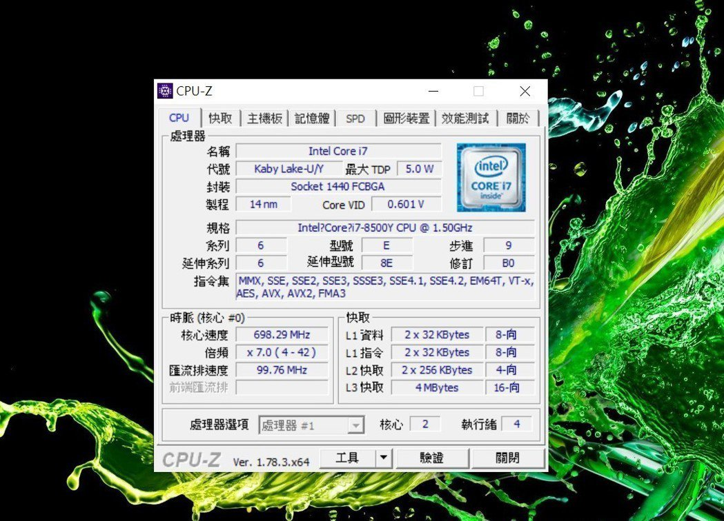 因Swift 7體態極輕盈,因此處理器採第8代超低電壓Intel Core i7...