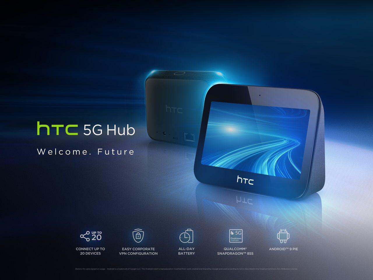 宏達電宣布全球首創家庭及企業兩用全方位智慧型網路分享器HTC 5G Hub。圖/...