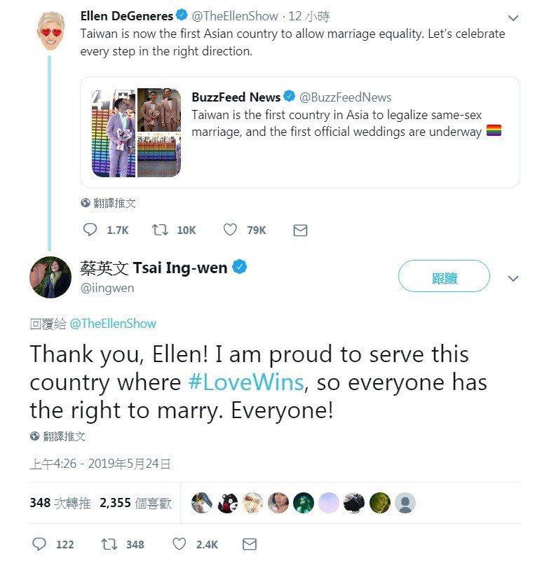 美國知名脫口秀主持人艾倫在twitter恭喜台灣同婚合法,吸引總統蔡英文回覆「愛...